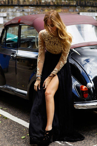 dress black skirt nude lace top embellished top slit lovely prom gown ideas outfit beautiful brands jewelry