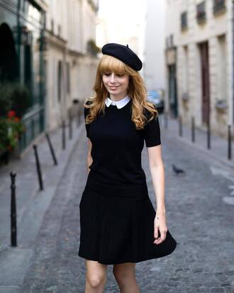 skirt french girl hat mini skirt black skirt top black top collar beret all black everything
