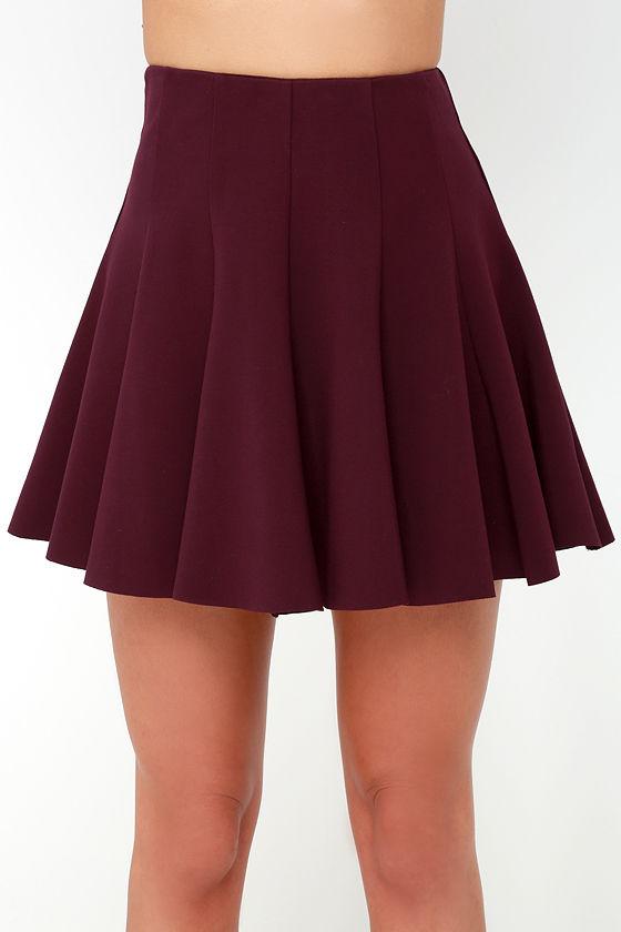 Flare Weather Friend Flared Burgundy Skirt
