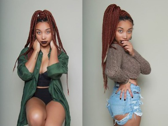 shorts tumblr cute two-piece style trendy wool omg girlz boobs zonnique pullins african american jeans braid