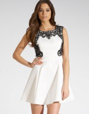 Lipsy Lace Trim Skater Dress - Lipsy