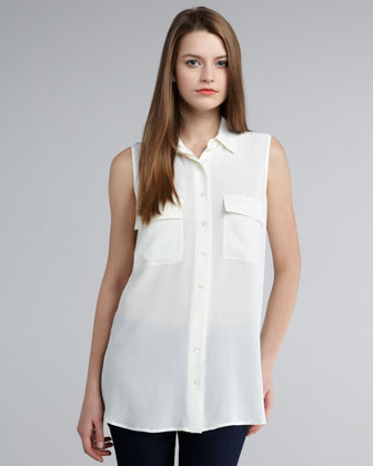 White Sleeveless Blouse With Collar
