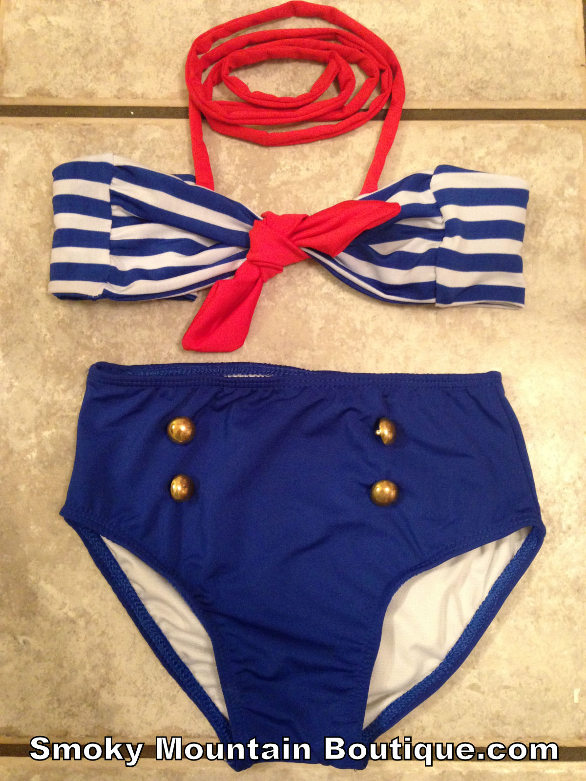Blue & white striped top and blue bottoms (child's size)