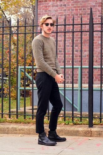 fashion goggled blogger sunglasses belt mens shoes mens pants mens sweater menswear mens chino pants