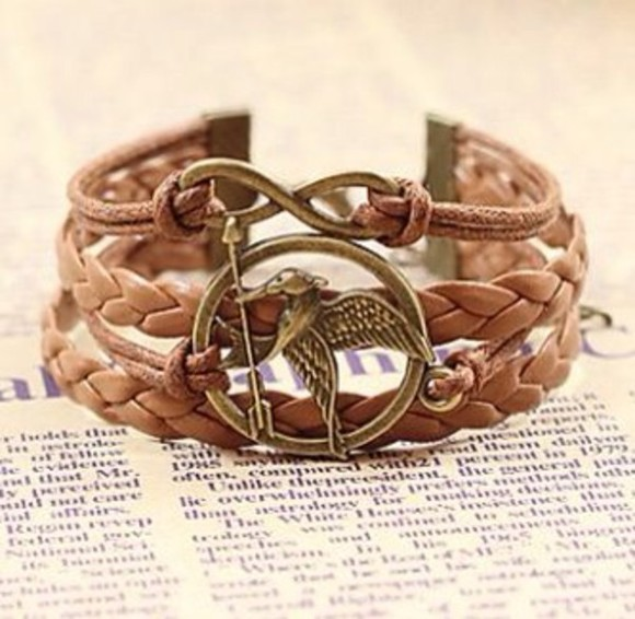 jewels the hunger games brown bracelet, braided bracelet