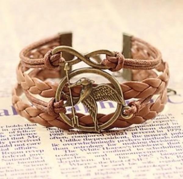 jewels the hunger games brown bracelet braided bracelet