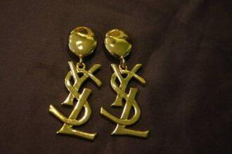 jewels boucle d'oreille yves saint laurent yves saint laurent earing earrings doré