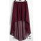 Maroon - women double layer chiffon pleated retro long asym dress elastic waist skirts girl maxi asymmetrical high low skirt 25 colors
