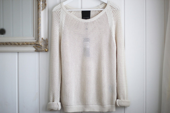 sweater loose fit sweater clothes loose fit white knit light light weight cream loose beige