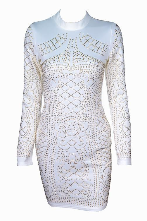 1ff31cf691 Tamara - Studded Geometry Bodycon Dress (White)