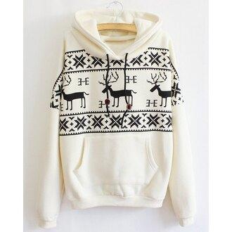 sweater deer white black sweatshirt christmas hoodie jumper long sleeves warm cozy casual cool trendy clothes