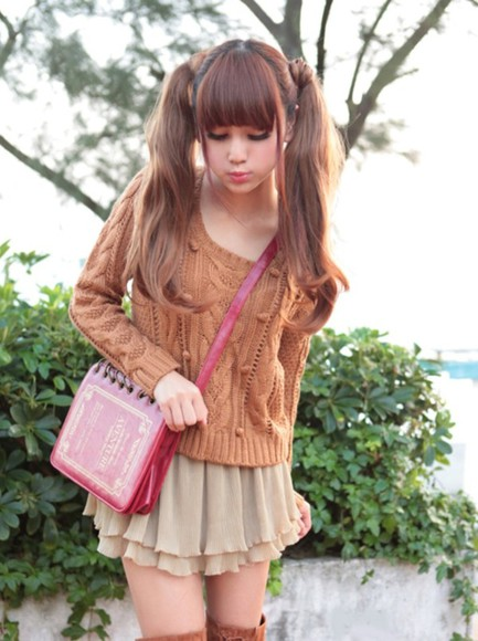 sweater vintage bag brown beige cream red skirt
