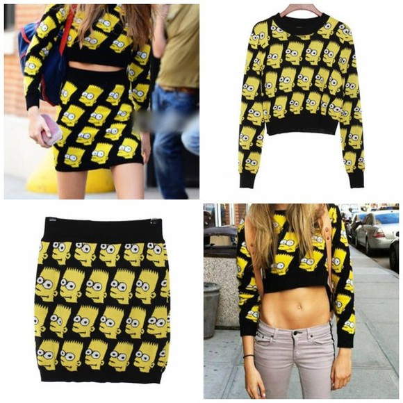 cartoon sweater skirt bart simpson the simpsons cara jeremy scott two piece matching crop tops