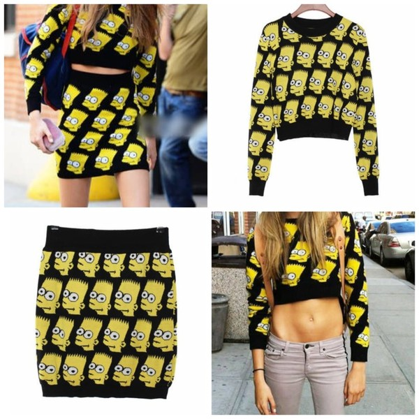 sweater bart simpson the simpsons cara delevingne jeremy scott two-piece matching set crop tops skirt cartoon