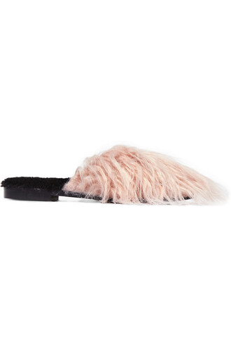 fur faux fur slippers pastel pink pastel pink shoes