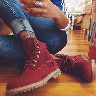 timberland boots shoes burgundy red shoes