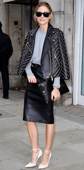 jacket,leather jacket,faux leather,olivia palermo,fall outfits,fashion week 2014,streetstyle,embellished jacket,embellished leather jacket