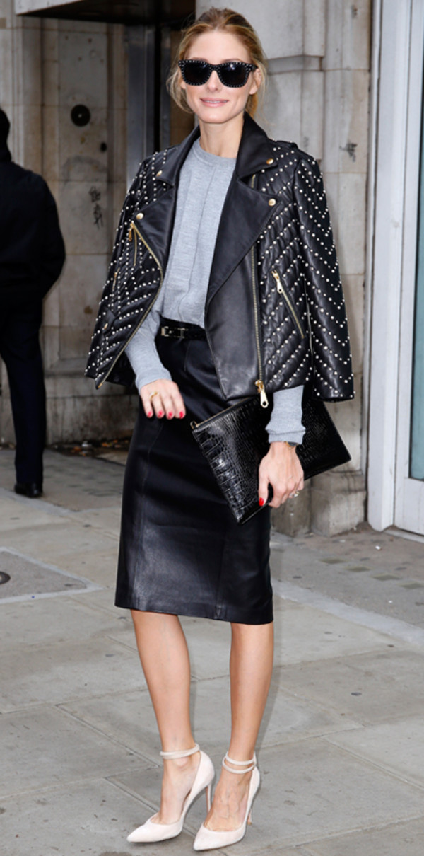jacket leather jacket faux leather olivia palermo fall outfits fashion week 2014 streetstyle embellished jacket embellished leather jacket