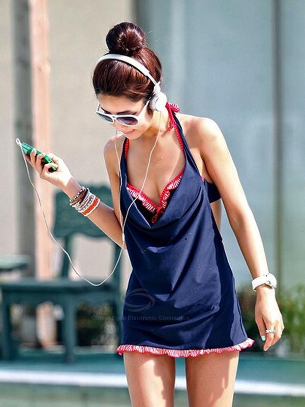 Ruffled Hem Three-Piece Divided Type Design Swimsuit With Halter For Women : KissChic.com