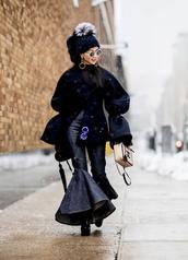 pants,tumblr,nyfw 2017,fashion week 2017,fashion week,streetstyle,kick flare,blue pants,boots,black boots,coat,jacket,black jacket,oversized jacket,oversized,bell sleeves,beanie,pom pom beanie,black beanie,bag,winter outfits,winter jacket,winter look