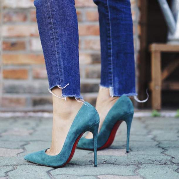 4b02f139bc3 shoes tumblr teal blue pumps blue shoes high heels high heel pumps pumps  pointed toe pumps