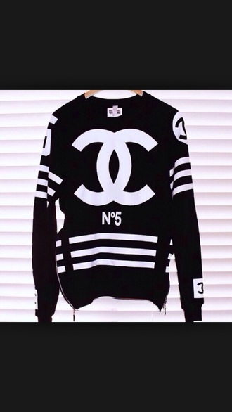 shirt black and white zippers coco chanel shirt long sleeves