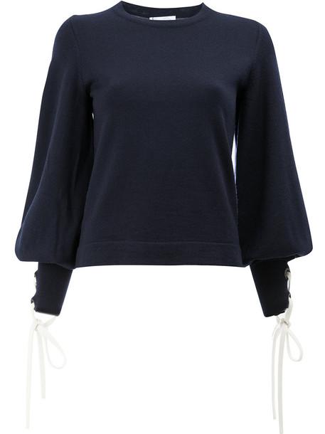 oscar de la renta jumper women blue wool sweater
