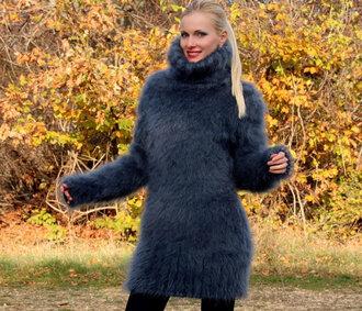 sweater hand knit made grey turtleneck dress supertanya mohair angora cashmere alpaca wool soft fluffy