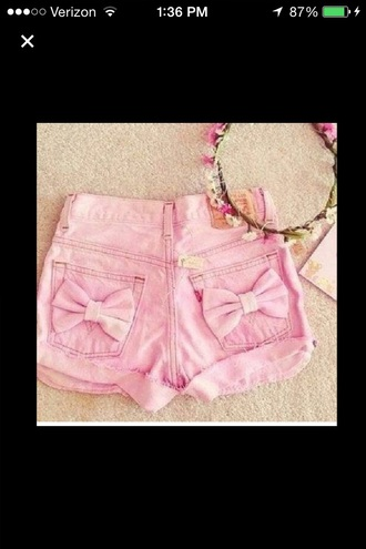 shorts pink shorts bows denim