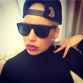 sunglasses,amber rose,gorgeous,baddies,kalifa,lightskin,mixed,sexy,purple lipstick,muvarosebud,hat,jewels,shirt
