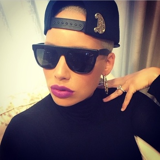 sunglasses amber rose gorgeous baddies kalifa lightskin mixed sexy purple lipstick muvarosebud hat jewels shirt