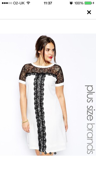 black asos cream dress with black lace detail white dress