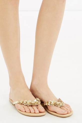 shoes floral flowers gold sandals flip-flops flats