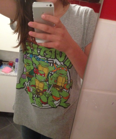grey t-shirt green oversize oversized shirt top 5 seconds of summer ninja turtles