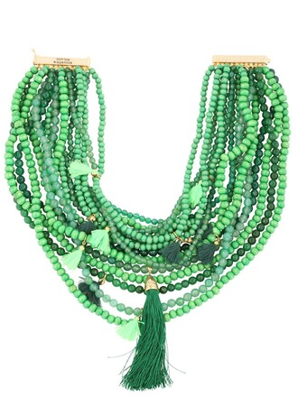beaded necklace green jewels