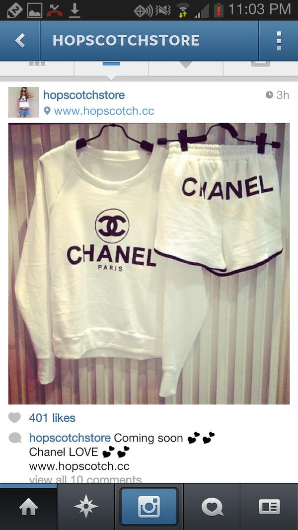 shorts chanel sweatshirt sunglasses sweater