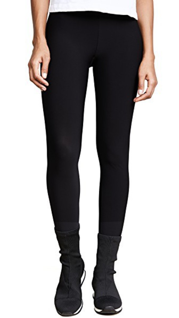 Plush Fleece Lined Stirrup Leggings in black