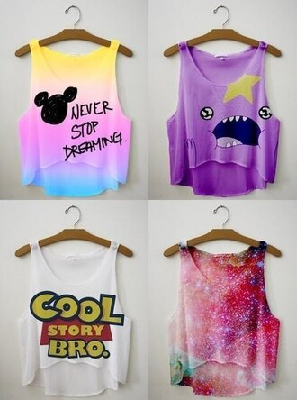 t-shirt cool story bro never stop dreming galaxy print shirt crop tops sleeveless summer top tank top funny shirt toy story disney yellow purple red pink top fresh shop nice like adventure time mickey mouse purple tank top lumpy space princess bag toystory adventure time shirt colorful this. adorable. need it  mikey mouse top blouse