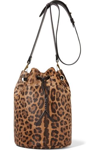 hair bag shoulder bag leather print leopard print