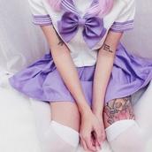 dress,anime,cosplay,back to school,uniform,uniform cosplay,sailor,purple,pastel,pastel goth,goth,goth hipster,grunge,tights,tattoo,sailor moon