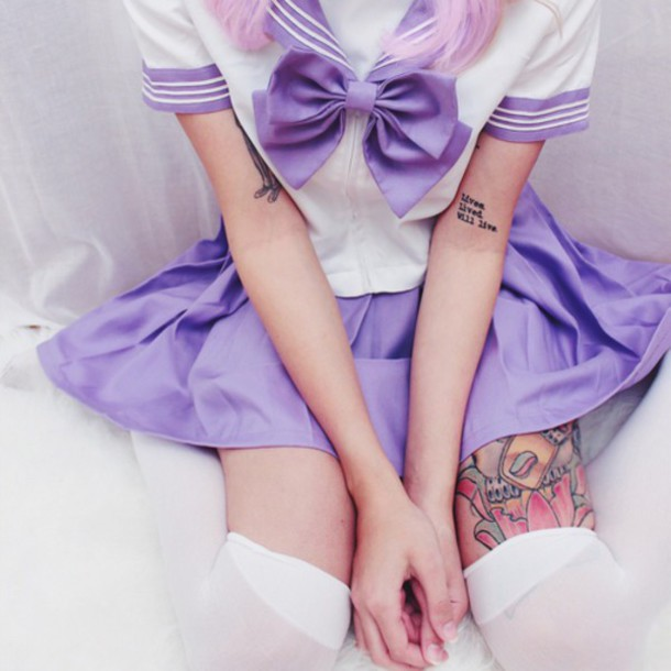 dress anime cosplay back to school uniform uniform cosplay sailor purple pastel pastel goth goth goth hipster grunge tights tattoo sailor moon