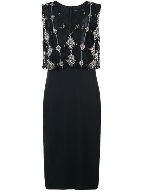 Sally LaPointe dress women spandex lace black silk