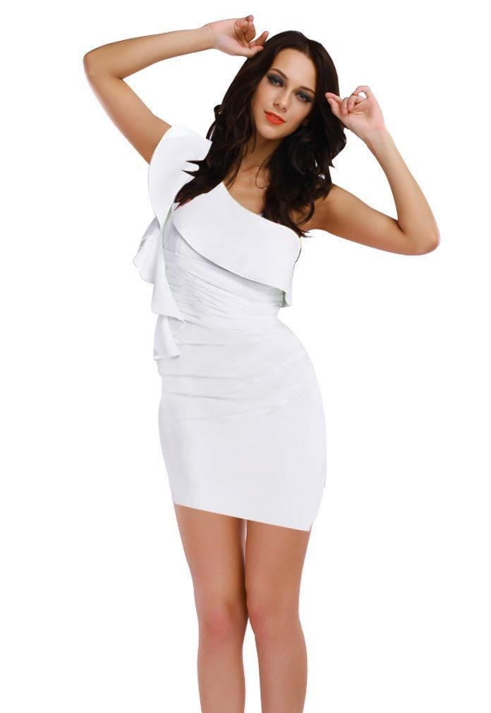 Freeshipping 2013 New Fashion Women Sexy One Shoulder White Elegant Ruffled Sleeve Bodycon Dress Club Party Mini DressN075   Amazing Shoes UK
