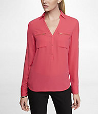 ZIP POCKET HALF PLACKET WOVEN TUNIC | Express