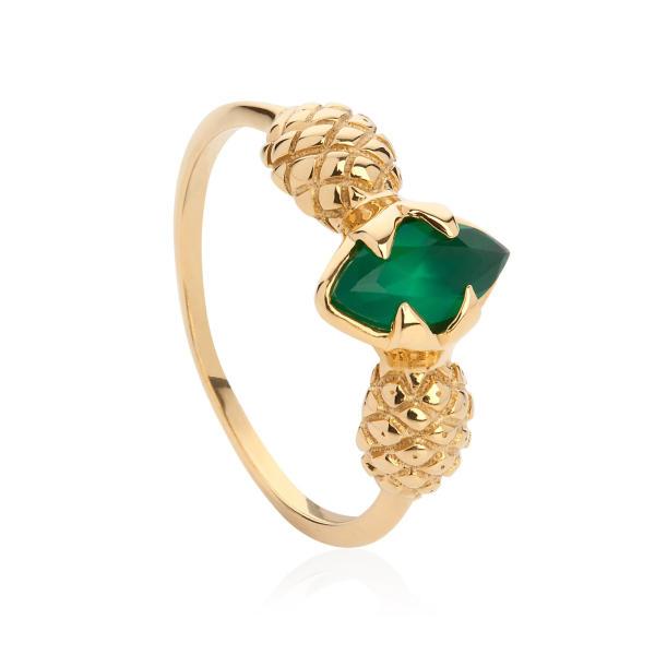 Pineapple Ring - Gold & Green Agate | Lee Renee