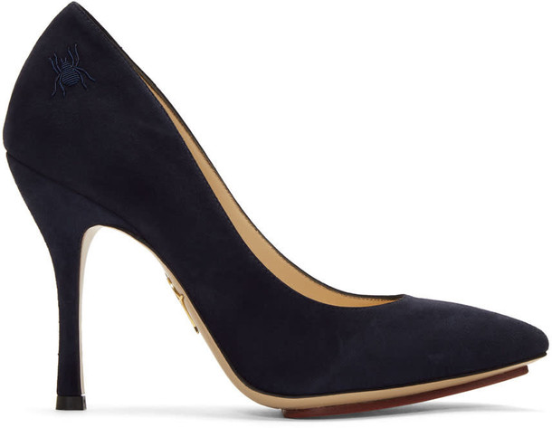 charlotte olympia heels navy suede shoes