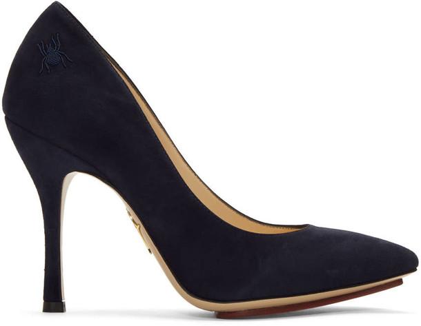 heels navy suede shoes