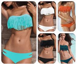 Online Shop Hot Sale Swimwear Women Padded Boho Fringe Bandeau Bikini Set New Swimsuit Lady Bathing suit|Aliexpress Mobile