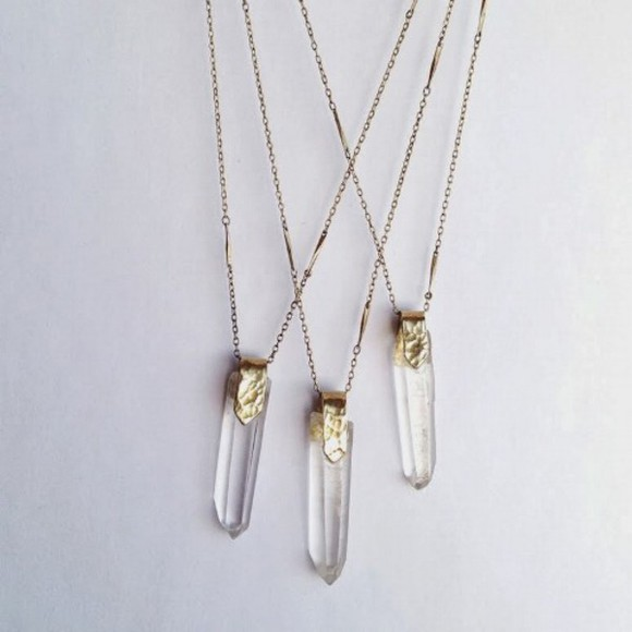 jewels quartz necklace tumblr crystal quartz crystal quartz stone three chain clear rock silver hipster