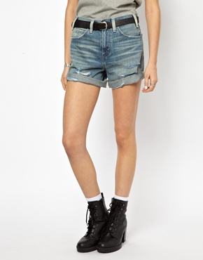 Levis | Levi's High Rise Distressed Denim Shorts at ASOS